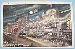 The Coliseum At Night In Chicago Postcard