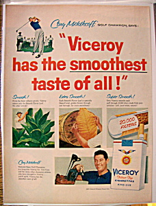 Vintage Ad: 1957 Viceroy Cigarette W/ Cary Middlecoff