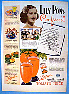 Vintage Ad: 1937 Libby's Tomato Juice W/lily Pons