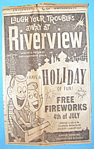 1961 Riverview Amusement Park W/man & Woman On Coaster