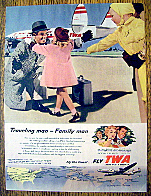 1954 Trans World Airlines Twa With Girl Welcoming Man