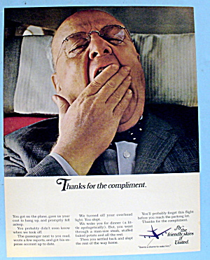 1967 United Airlines W/ A Man Yawning