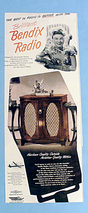 1948 Bendix Radio With Hildegarde (Female Entertainer)