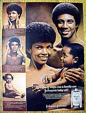 1976 Johnson's Baby Oil With Man, Woman & Child