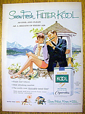 1959 Kool Cigarettes With Man And Woman Smoking