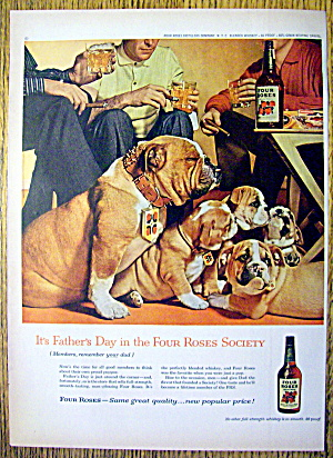 1959 Four Roses Whiskey With Bull Dog Family