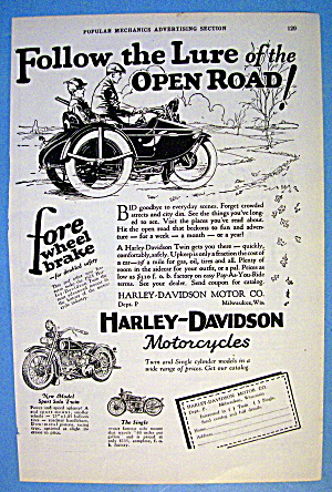 1927 Harley Davidson With Men On Motorcycle