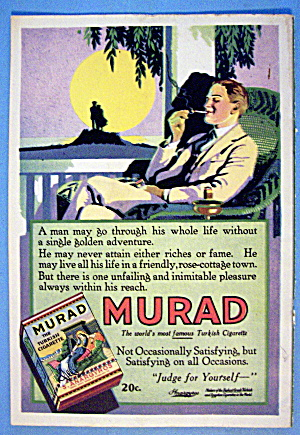 1921 Murad Cigarettes With Man Smoking On Porch