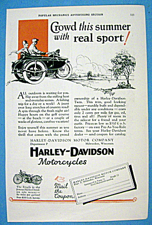 1927 Harley Davidson With Side Car With Man & Woman