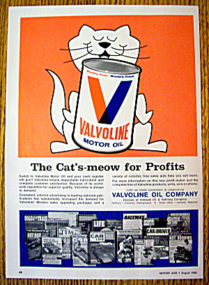 1968 Valvoline Motor Oil With Cat's Meow