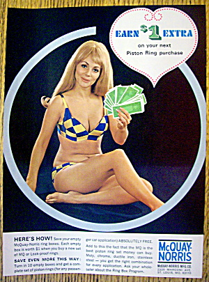 1969 Mcquay-norris Piston Rings With Woman In Swim Suit
