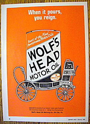 1969 Wolf's Head Motor Oil With Can Of Oil