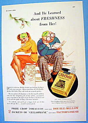 1936 Old Gold Cigarettes With Man & Woman By Petty