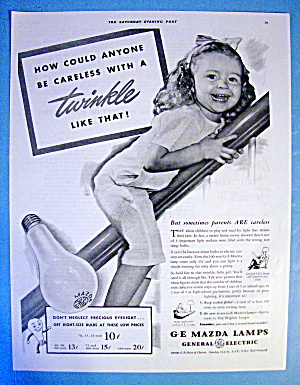 1941 Ge Mazda Lamps With Girl On Railing