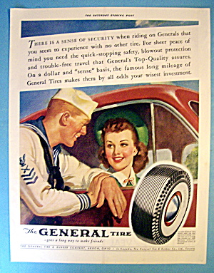 1941 General Tire With Sailor Talking To Woman