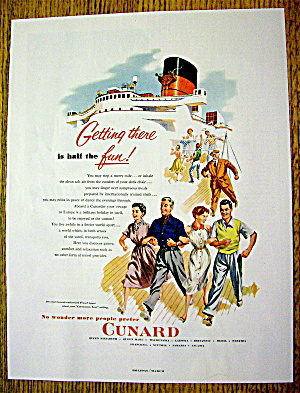 1953 Cunard With People Walking On A Ship