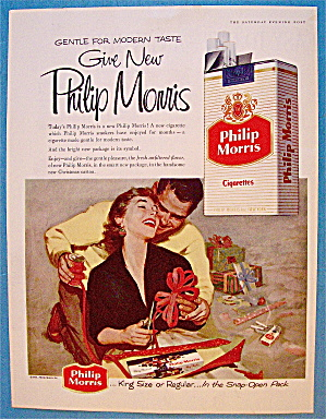 1955 Philip Morris With Woman Wrapping Gift