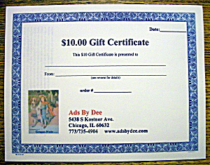 Ads By Dee $10 Gift Certificate