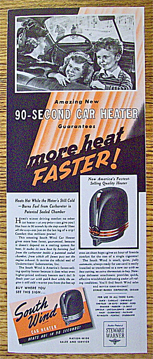 1941 South Wind Car Heater With Woman And Children