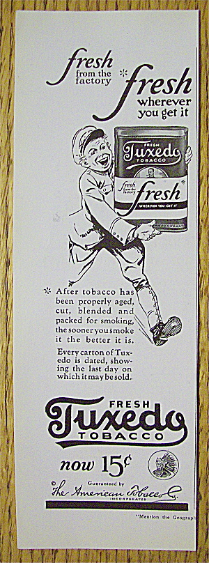 1923 Tuxedo Tobacco With Man Carrying Can Of Tobacco