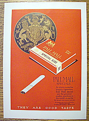 1924 Pall Mall Cigarettes With Pack Of Cigarettes