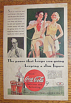 1934 Coca Cola (Coke) With Two Women On Bikes