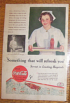 1934 Coca Cola (Coke) With Nurse Carrying Coke On Tray