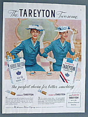 1956 Tareyton Cigarettes With Twin Women Smiling