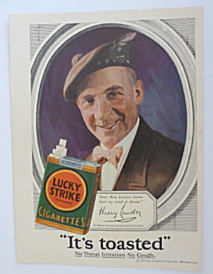 1928 Lucky Strike Cigarettes With Sir Harry Lauder
