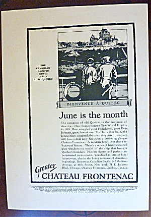 1924 Greater Chateau Frontenac With Bienvenue A Quebec