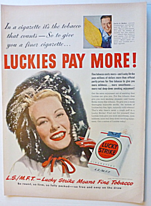 1950 Lucky Strike Cigarettes With Woman In Furry Cap