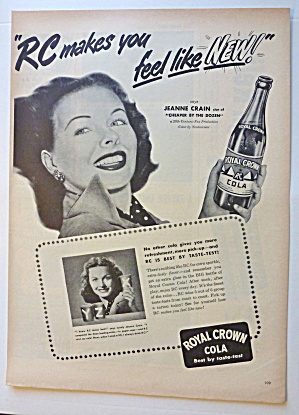 1950 Royal Crown Cola (Rc Cola) With Jeanne Crain