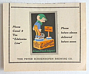 1920s Edelweiss Beer Peter Schoenhofen Chicago Stamp Ad