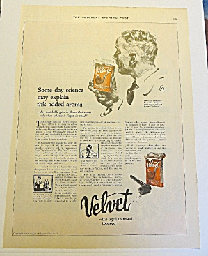 1924 Velvet Tobacco With Man Smelling Tobacco