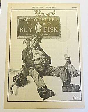 1924 Fisk Tires With Bum Sleeping By Norman Rockwell