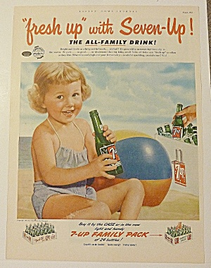 1952 Seven Up (7 Up) With Little Girl On Beach