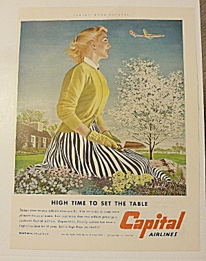 1953 Capital Airlines With Woman Watching Plane Fly