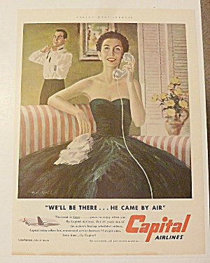 1953 Capital Airlines With Woman Talking On Phone