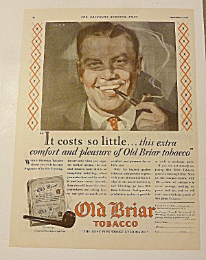 1928 Old Briar Tobacco With Man Smoking Pipe