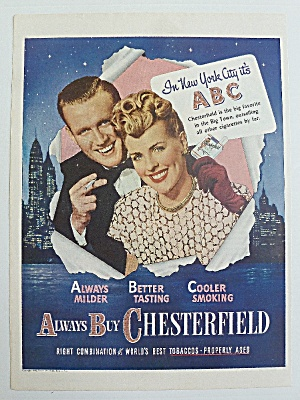 1946 Chesterfield Cigarettes With Man & Woman