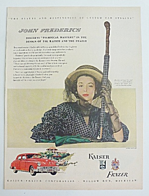 1948 Kaiser/frazer With Woman With Umbrella
