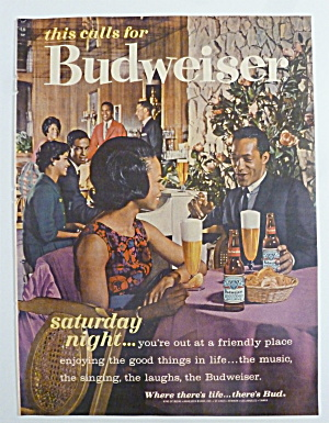 1963 Budweiser Beer With Man & Woman On Saturday Night