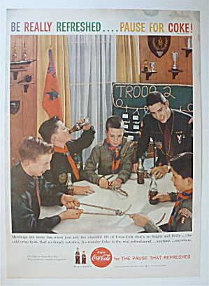 1959 Coca Cola (Coke) With Boys Scouts & Their Leader