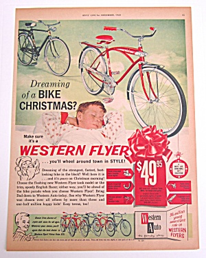 1960 Vintage Western Flyer With Boy Dreaming About Bike