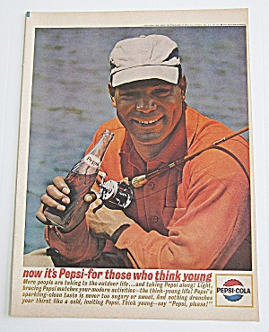 1963 Pepsi Cola With Man Holding Fishing Reel & Bottle