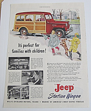 1949 Jeep Station Wagon With Mom Picking Up The Kids