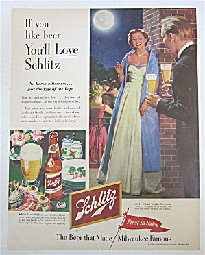 1953 Schlitz Beer With Man Bringing Woman Glass Of Beer