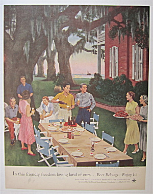 1954 Beer Belongs Gulf Coast Shrimp Supper By J. Falter