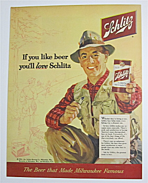 1954 Schlitz Beer With Man Holding A Glass Of Beer