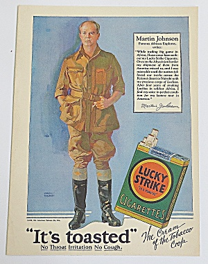 1928 Lucky Strike Cigarettes With Martin Johnson